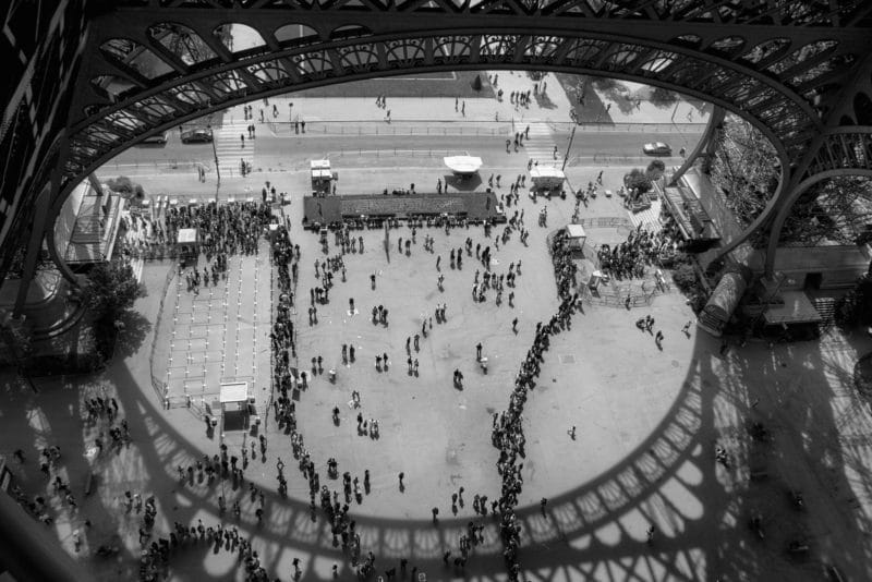 The Eiffel Tower queues